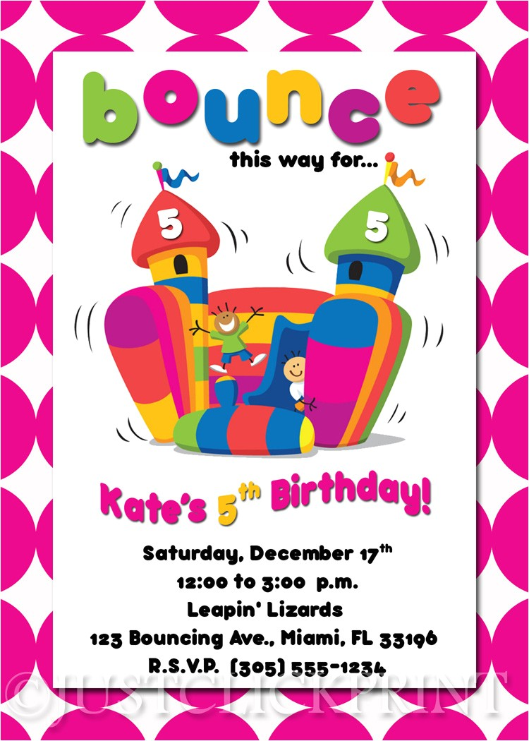bounce house birthday invitations template
