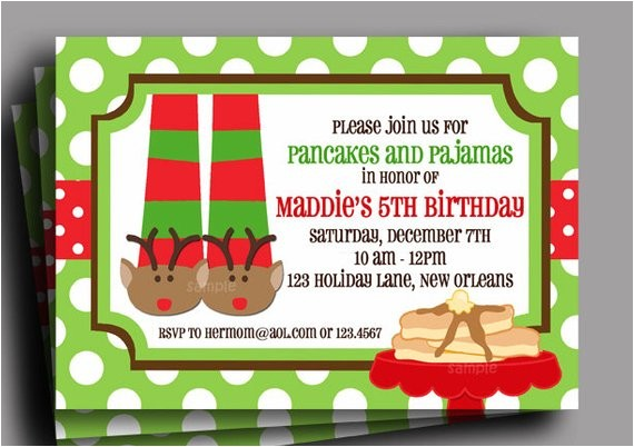 christmas pajamas pancakes invitation printable reindeer