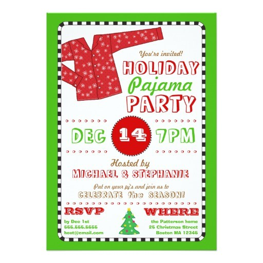 holiday pajama christmas party invitation 161101382210271484