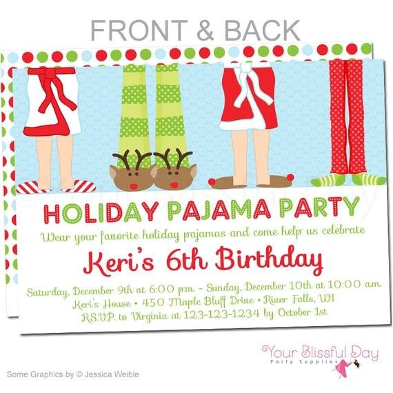 holiday pajama party invitations