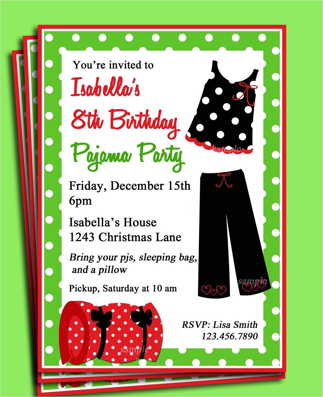 pajama party printable invitation