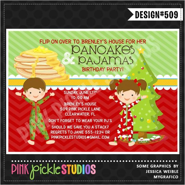 pancakes christmas pajamas personalized party invitation