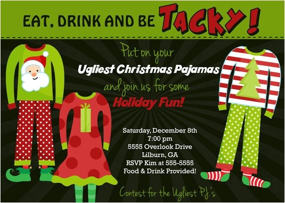 ugly pajamas holiday party invitation