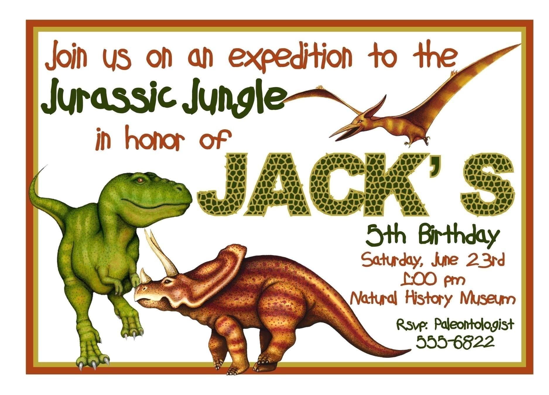 free printable dinosaur birthday invitation