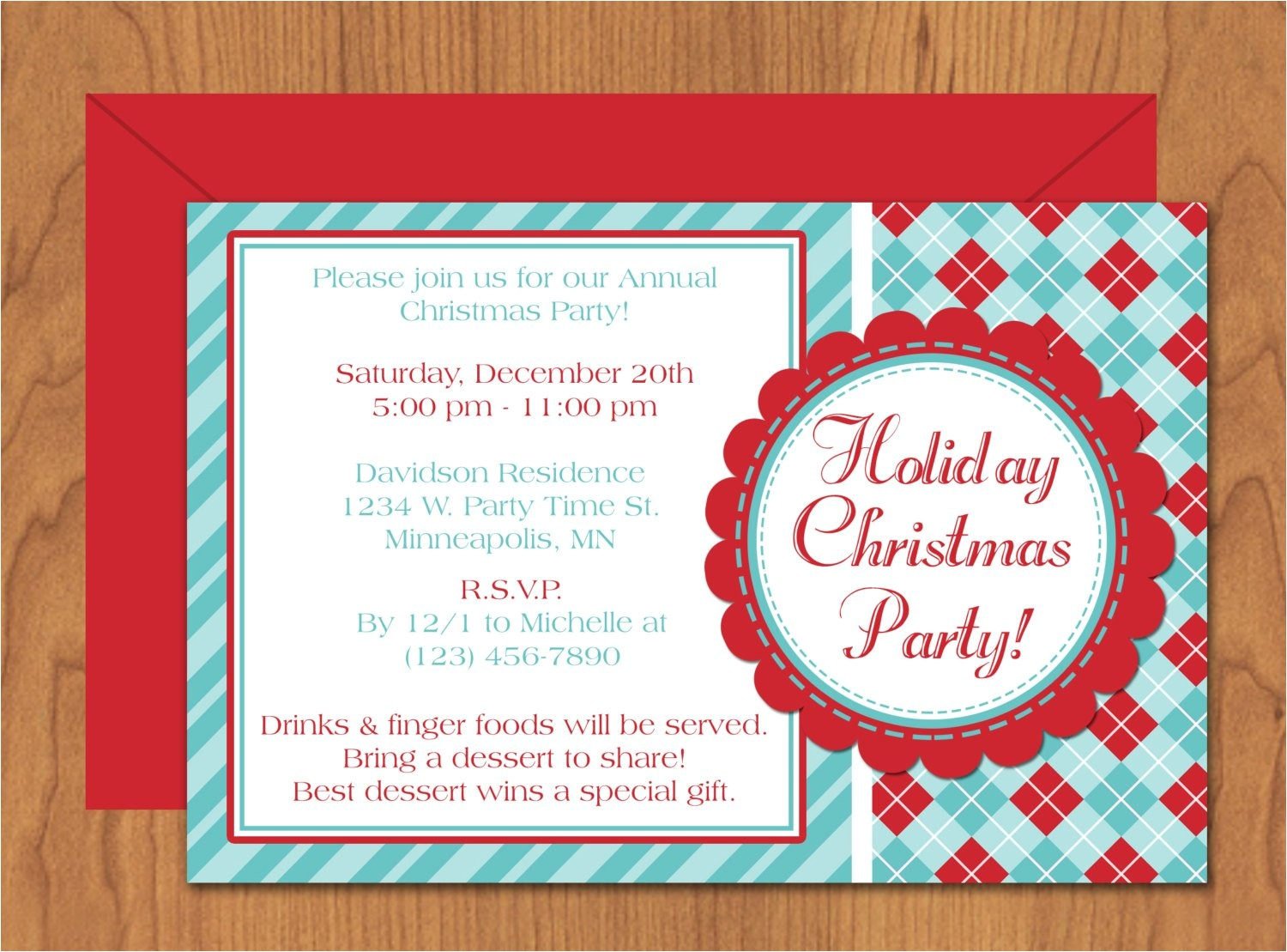 christmas party invitation editable