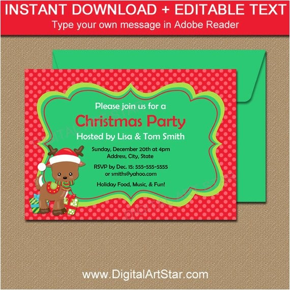 downloadable christmas party invitations reindeer editable