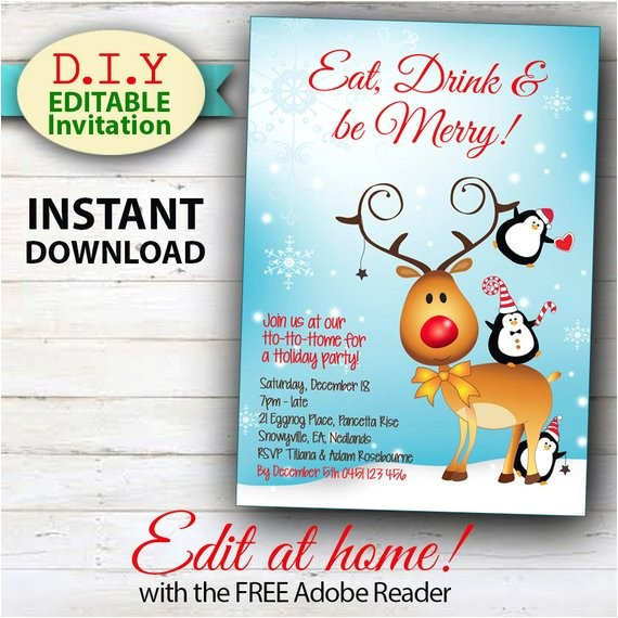 editable christmas invitation rudolph