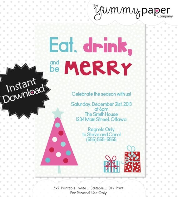 editable modern christmas party invitation instant