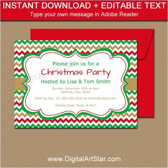 printable holiday invitation template editable christmas