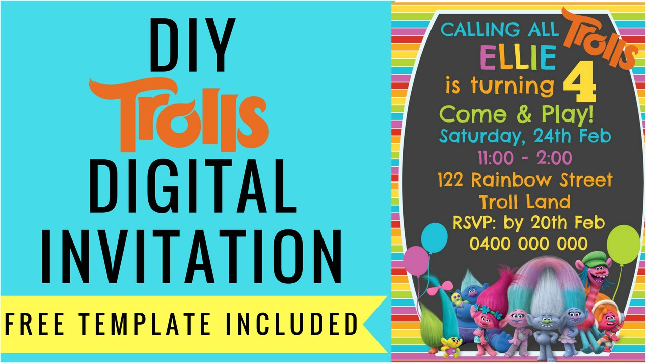 free trolls digital invitation make picmonkey template included