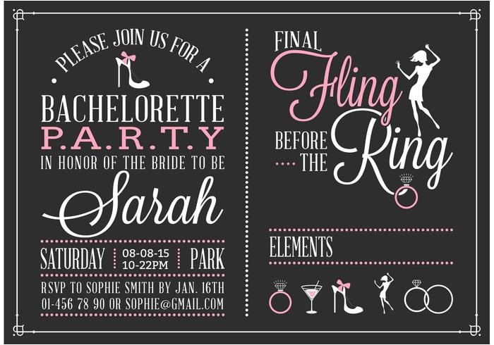 87639 free bachelorette party invitation vector