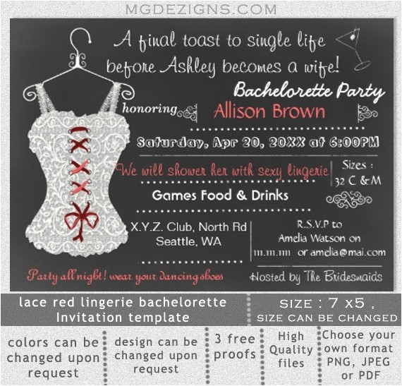 bachelorette party printable invitation