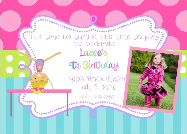 birthday invitation templates gymnastics