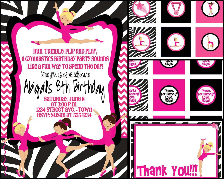 gymnastics party invitation template free