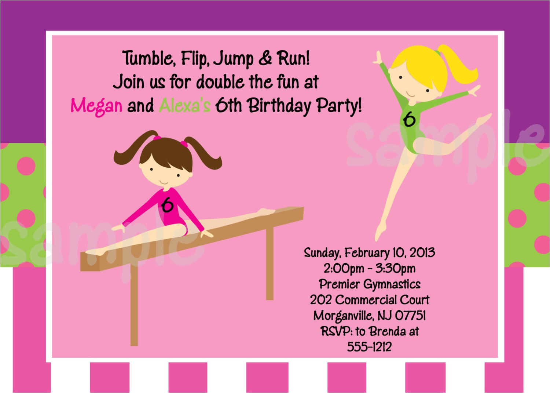 gymnastics party invitation template