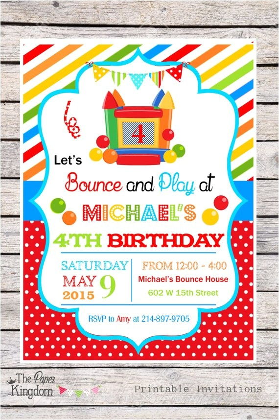 diy bounce house party invitations