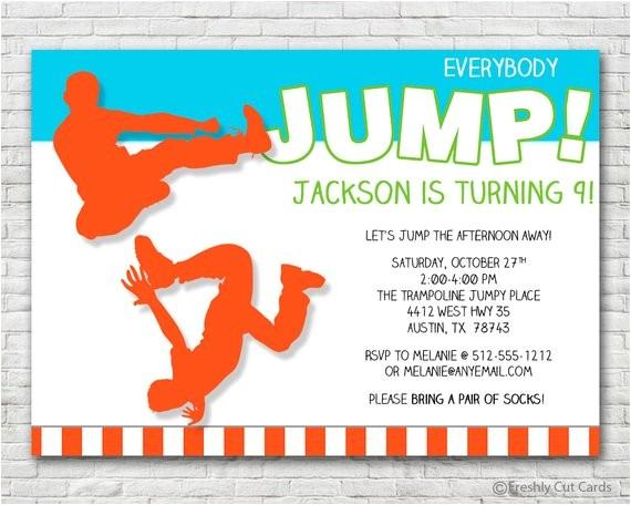 everybody jump birthday invitation