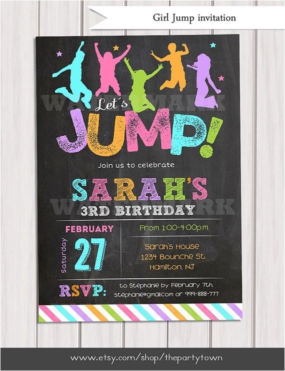 jump invitation girl bounce house invitation