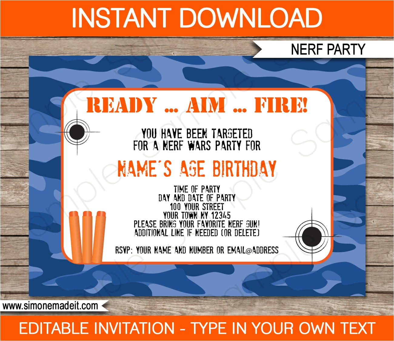 nerf birthday party invitations editable template