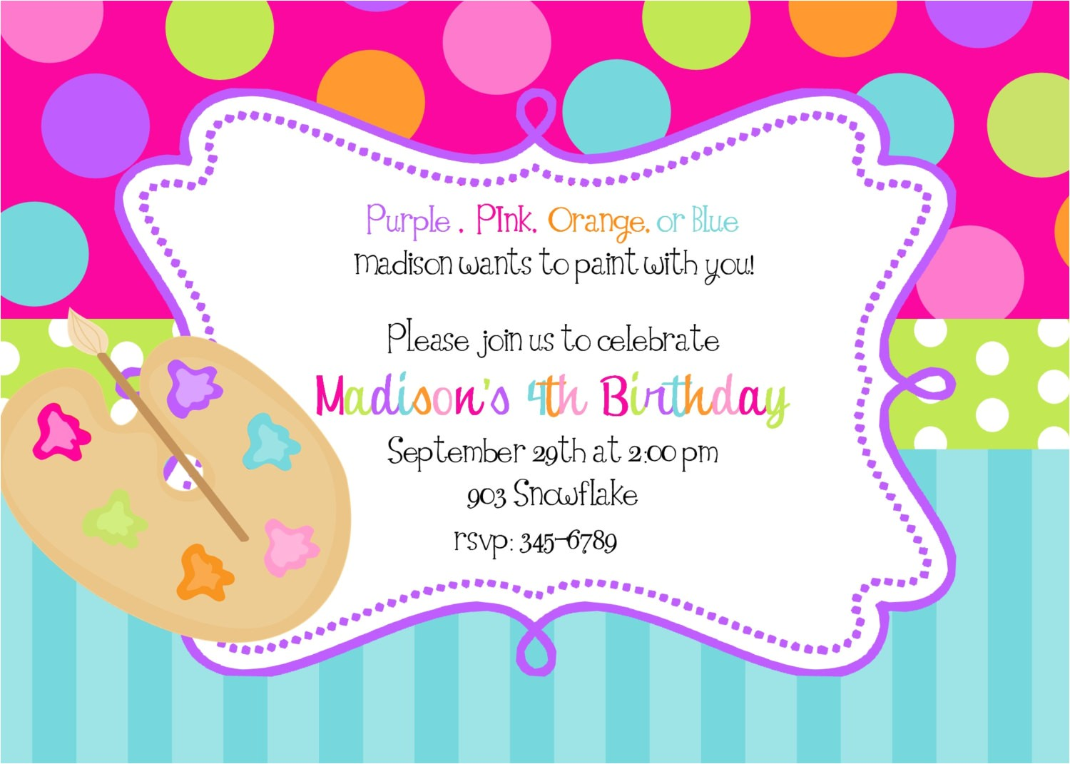 awesome 10 art painting party invitations birthday for kids
