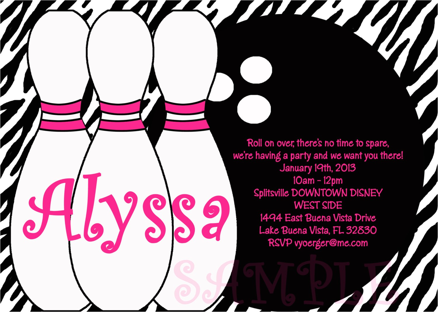 bowling party invitations templates ideas