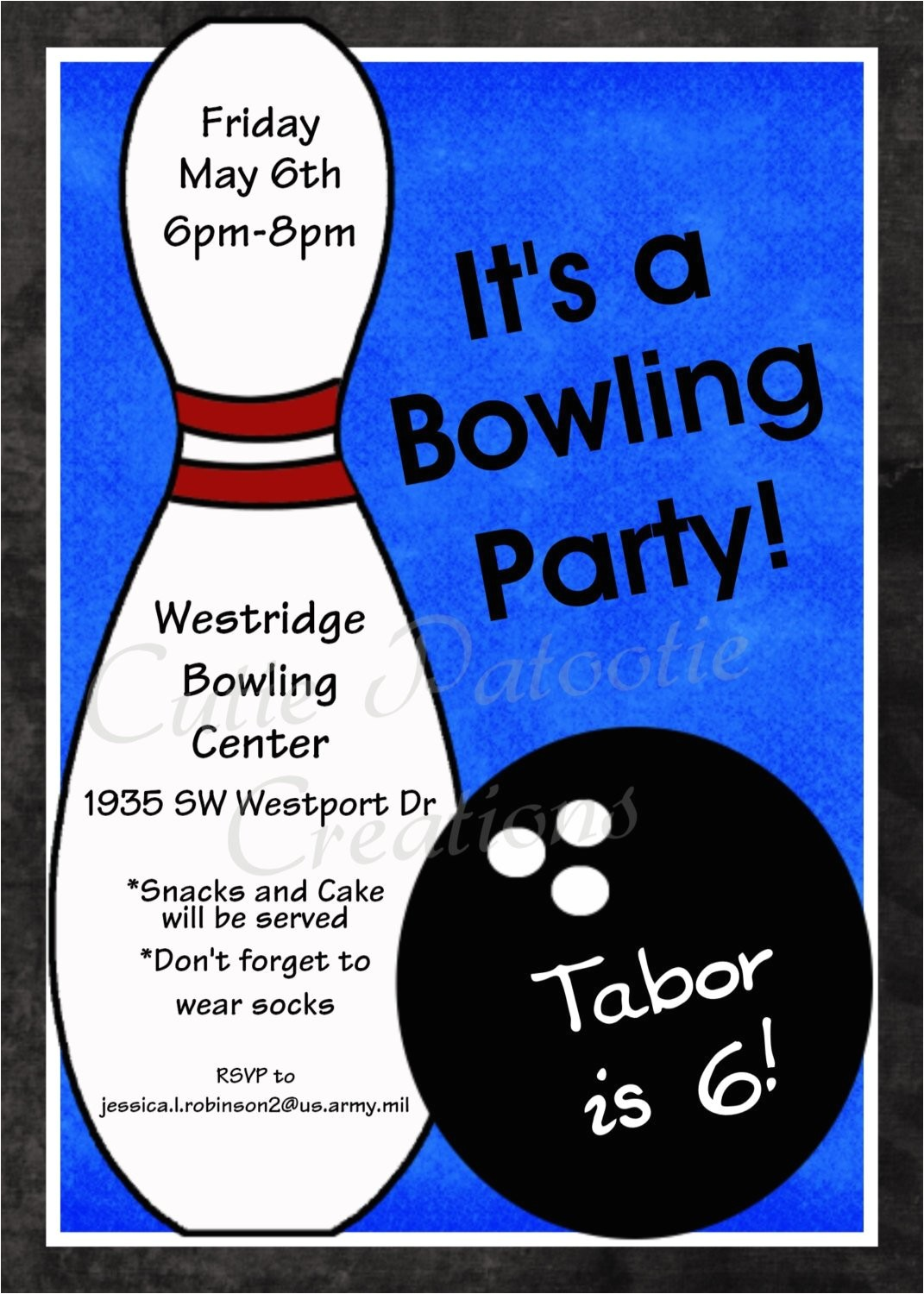 bowling birthday invitation printable or