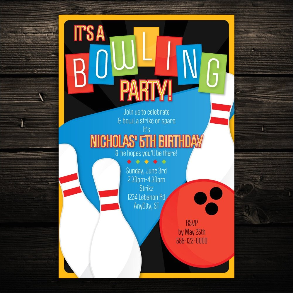 printable bowling invitation retro