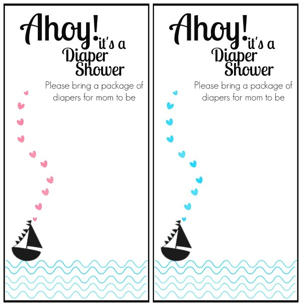 free printable nautical themed baby shower invitation