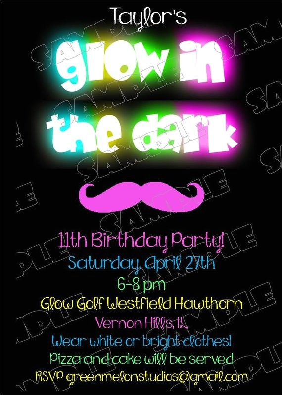 glow dark invitations mustache birthday party