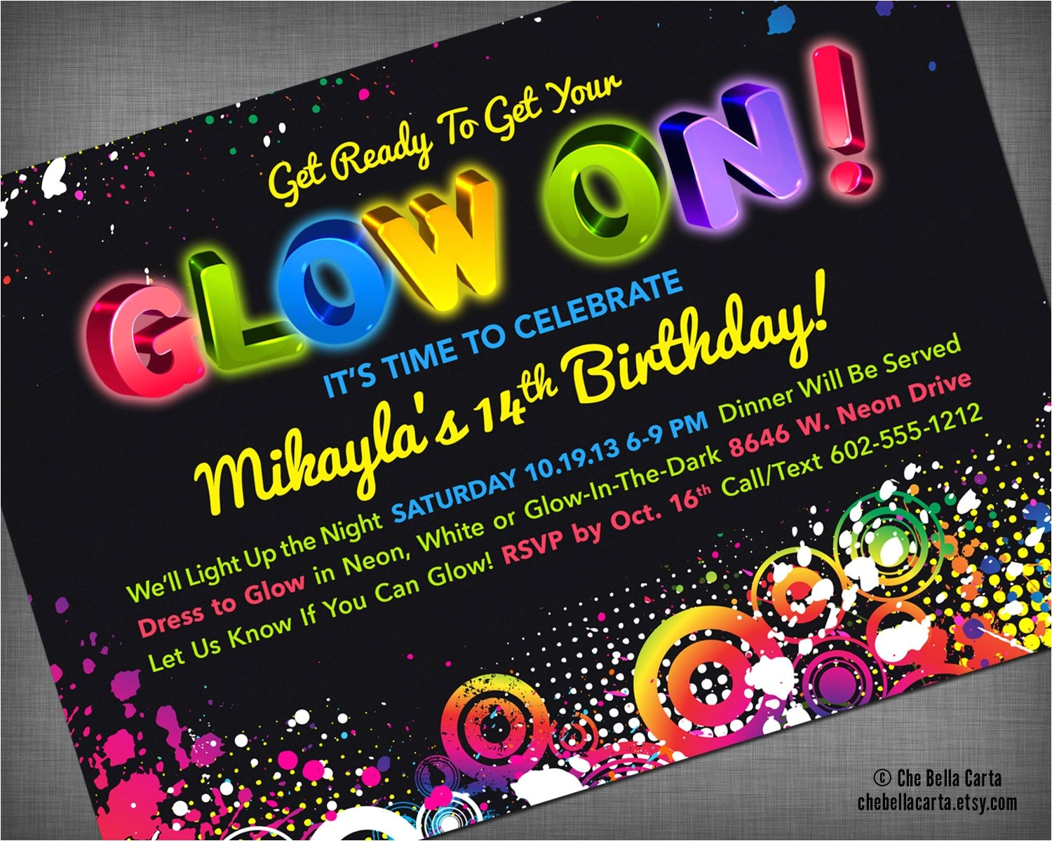 glow neon black light party customized