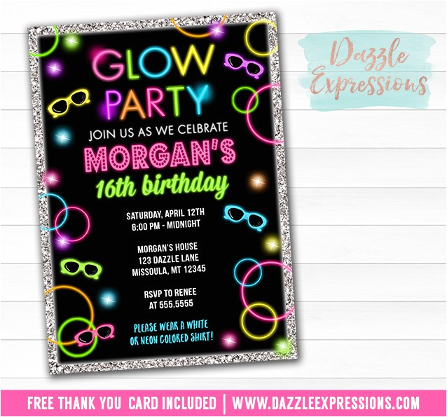 glow in the dark birthday invitation 1 free thank you card