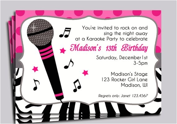 karaoke party invitation printable sing microphone