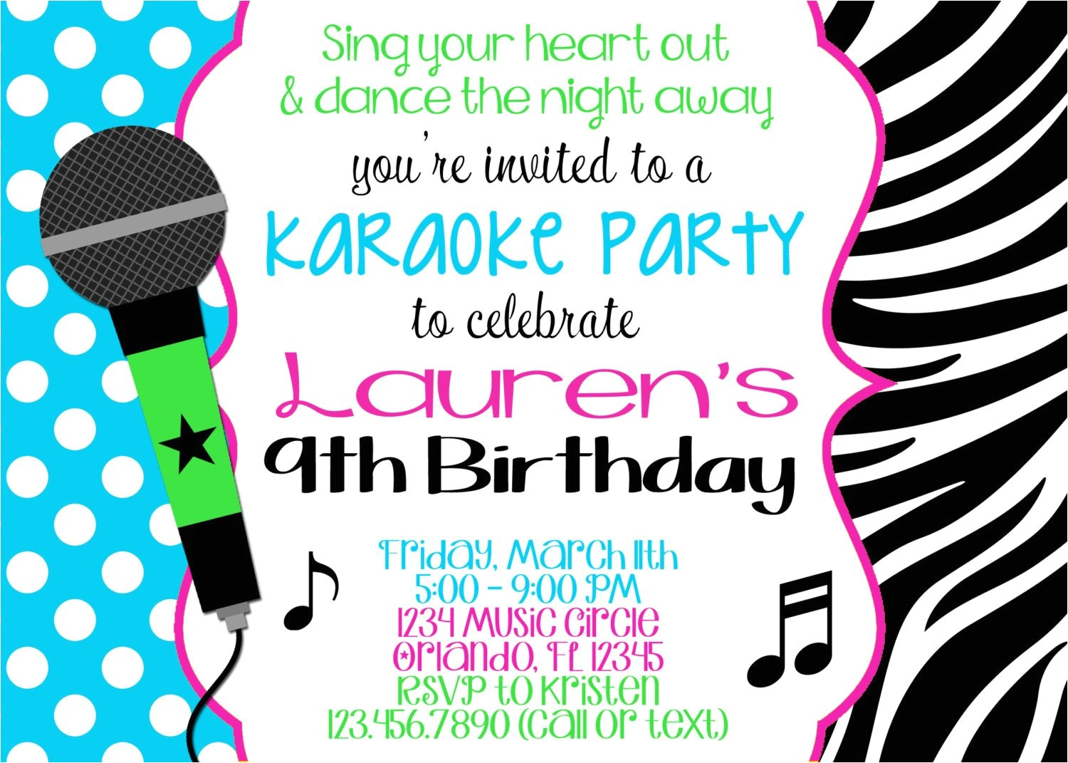 Free Printable Karaoke Party Invitations Karaoke Girl 5×7 Birthday Invitation Printable