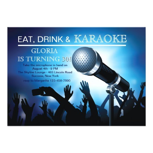 karaoke night adult birthday party invitation 161409283611182061
