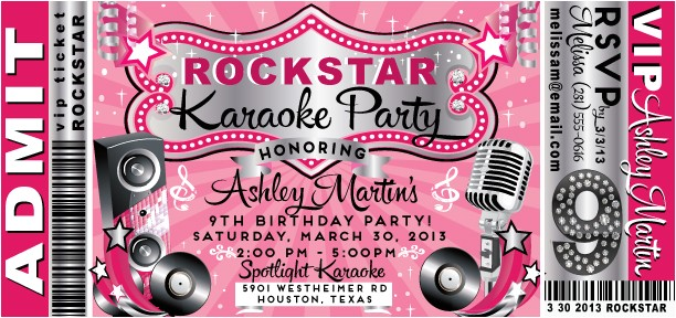 vip rock star karaoke birthday invitation p 2049