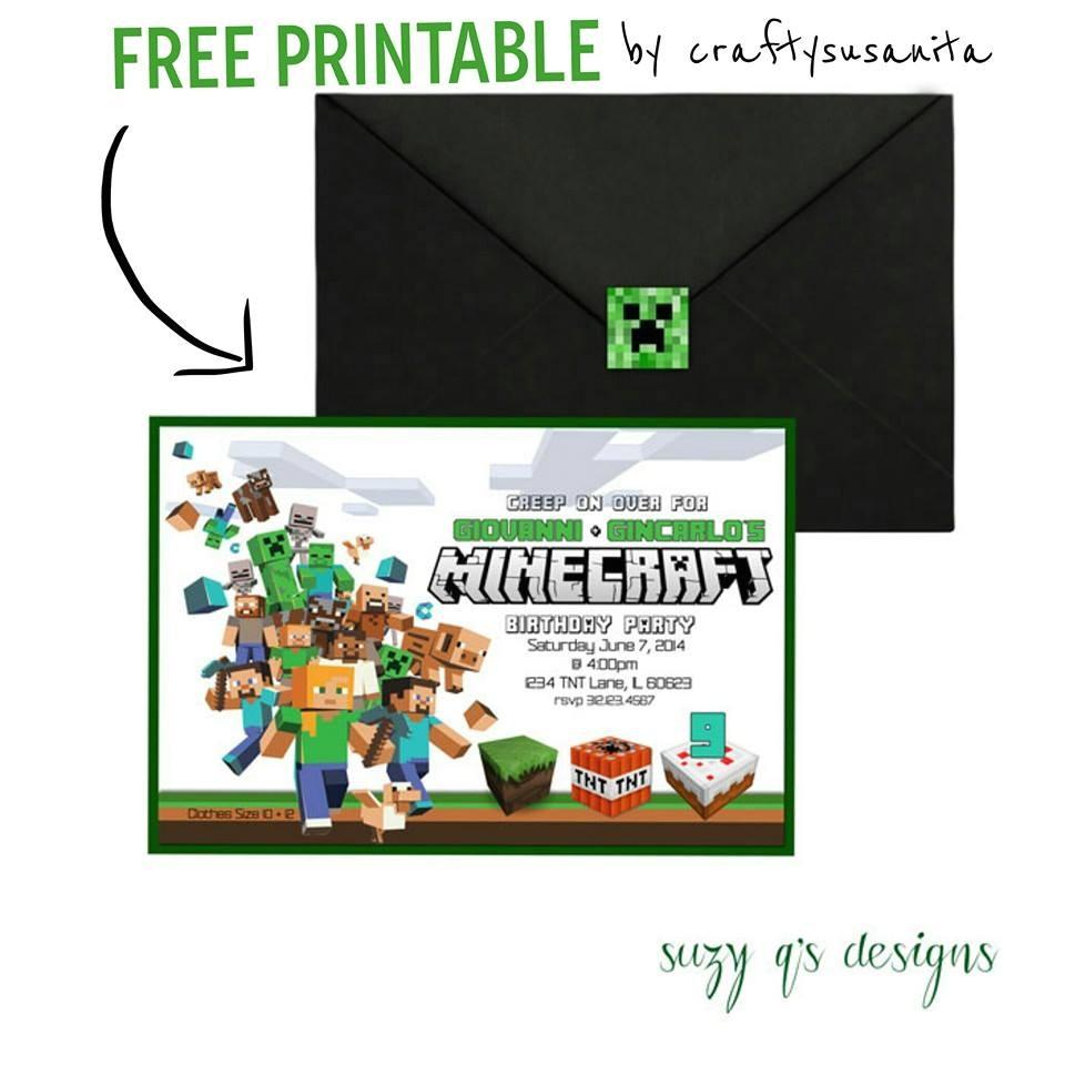 post free printable minecraft invitations 393910