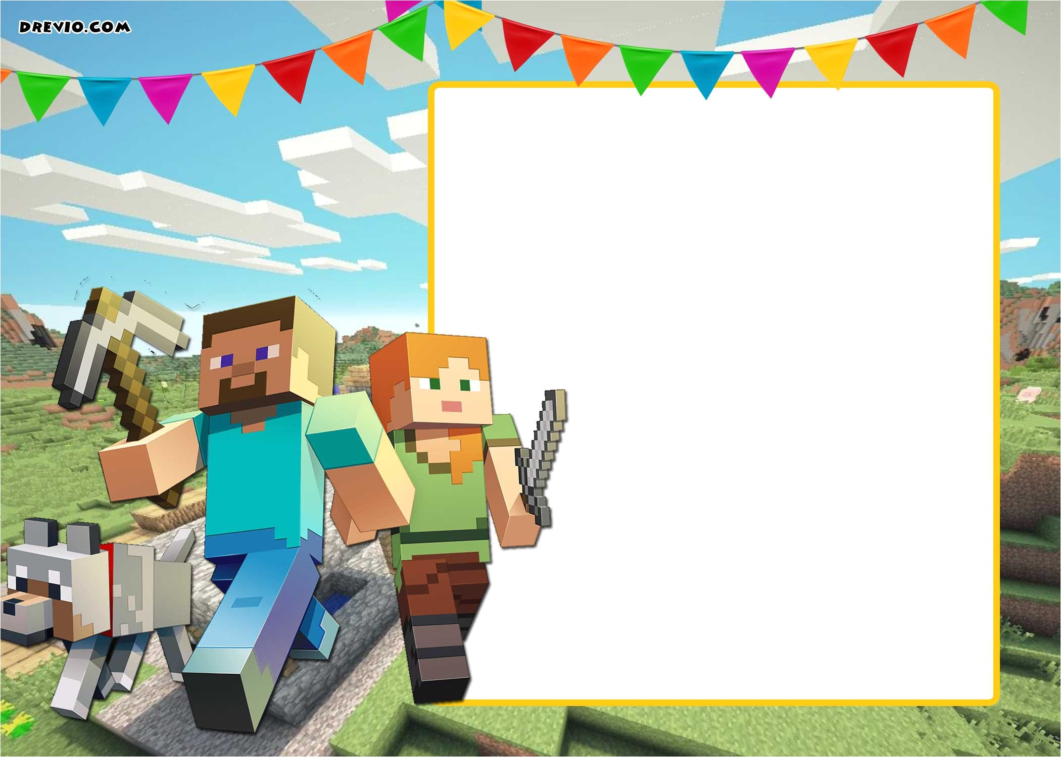 free printable minecraft birthday invitation template