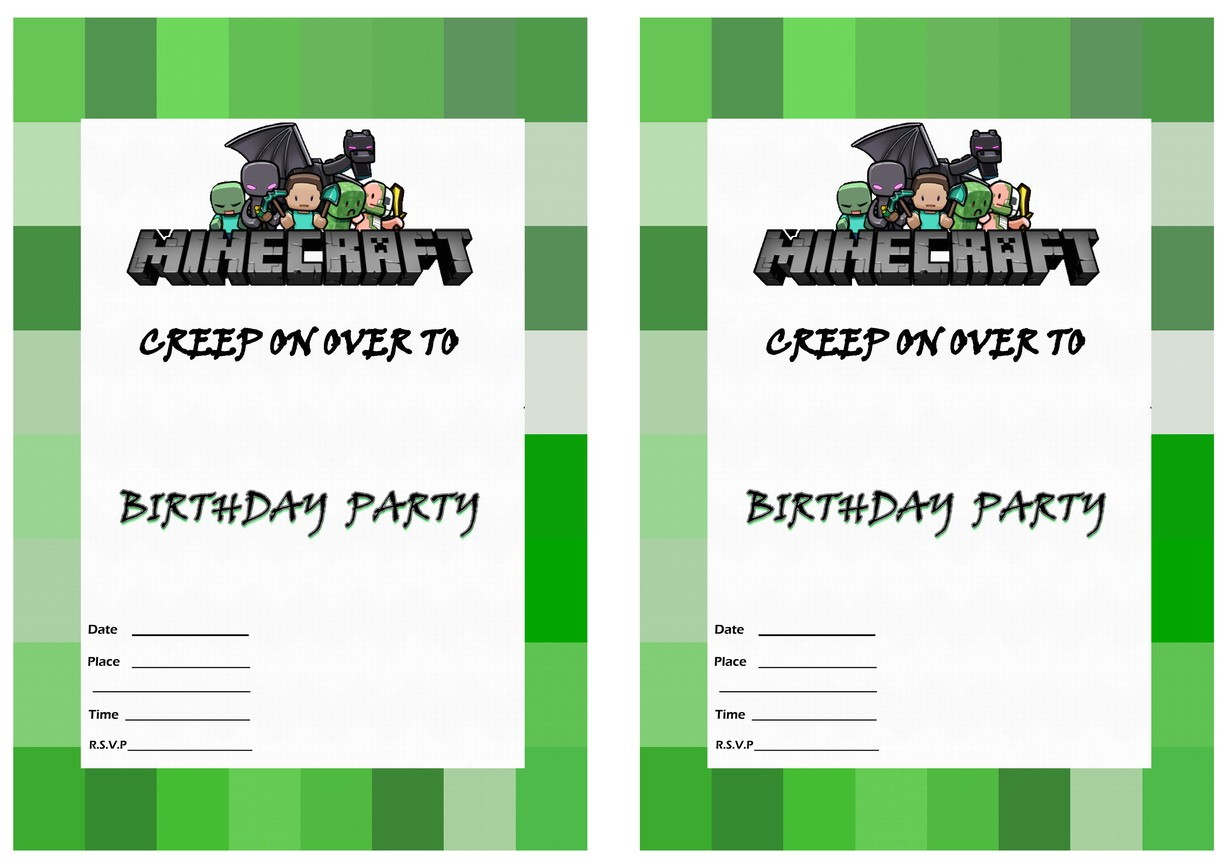 free printable minecraft birthday invitations with adorable invitations for resulting an extraordinary outlook of your birthday invitation templates 7