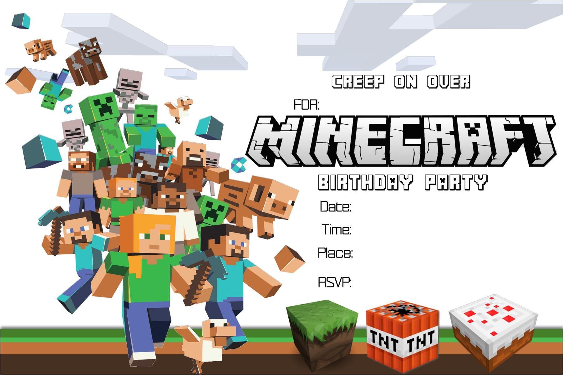 minecraft birthday invitations printable free