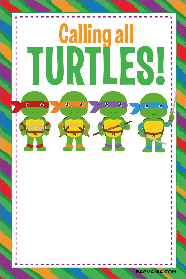 free printable ninja turtle birthday party invitations