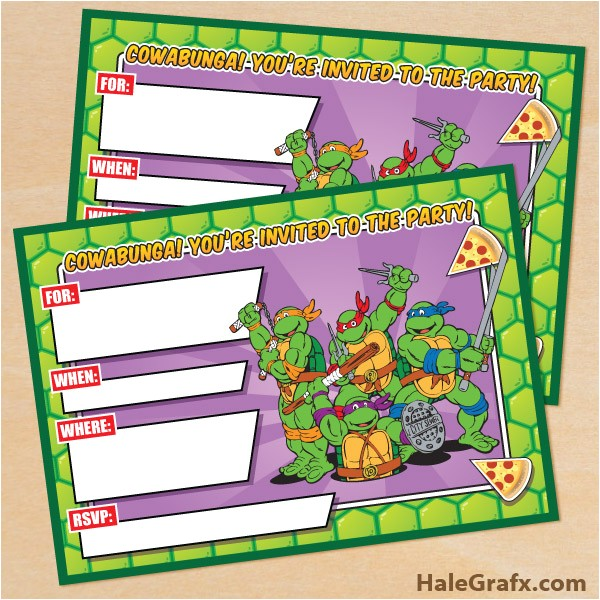 free printable retro tmnt ninja turtle birthday invitation
