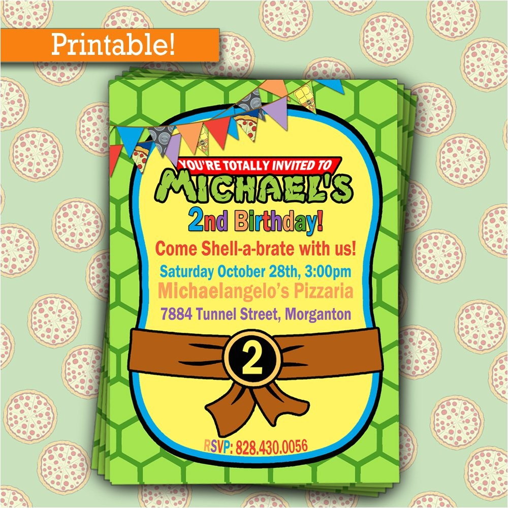 printable teenage mutant ninja turtles birthday invitations