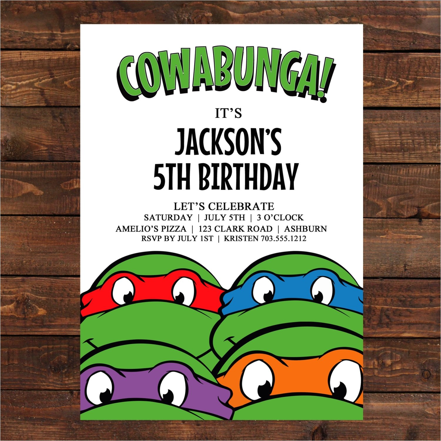 teenage mutant ninja turtle invitation