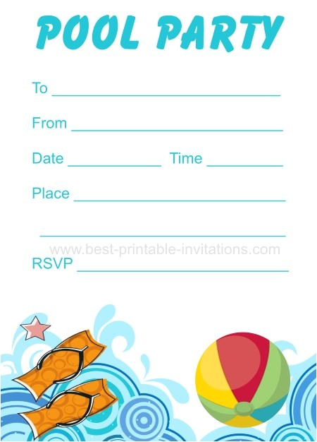Free Printable Pool Party Invitation Cards Printable Pool Party Invitation