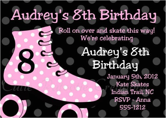 free printable roller skating party invitation