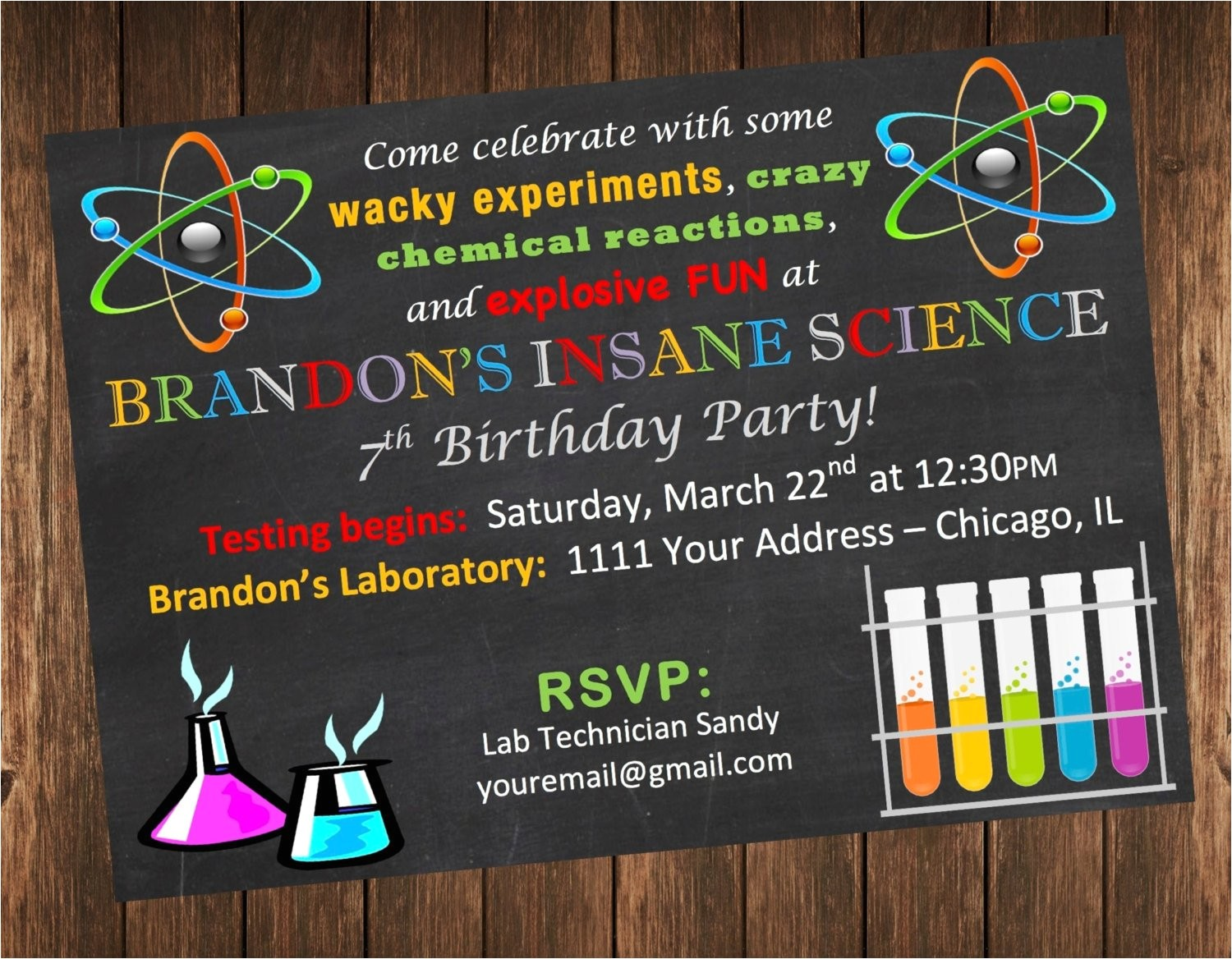 insane science birthday party invitation