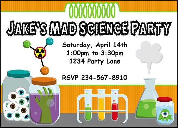 mad science birthday party invitation idea