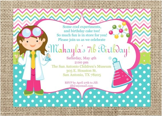 printable invitation science party girls collection