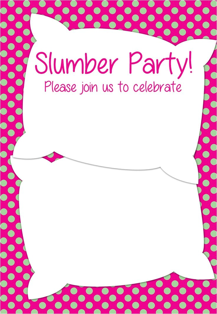 post slumber party free printable template 357956