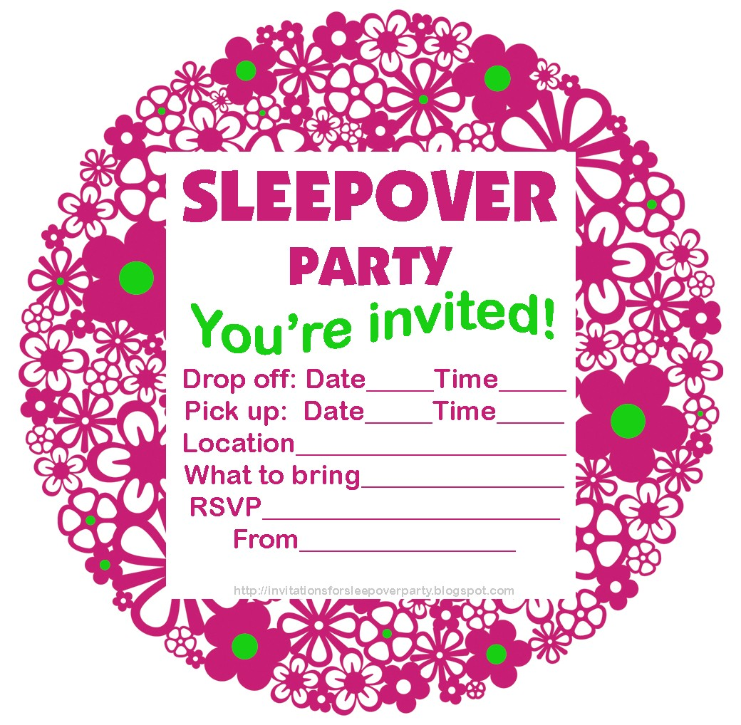 free printable slumber party birthday invitations